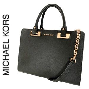 NWT authentic MK leather Quinn satchel black
